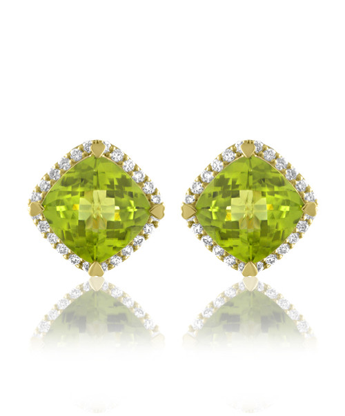 Peridot Cushion Halo Earrings
