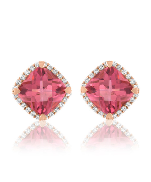 Pink Tourmaline Cushion Halo Earrings