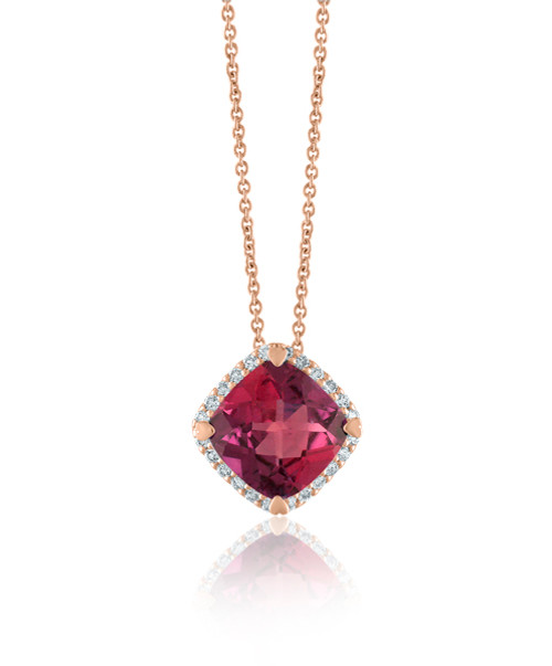 Rhodolite Cushion Halo Pendant