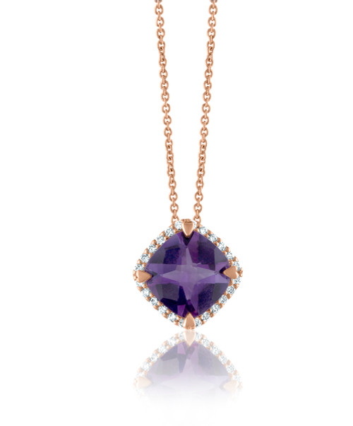 Amethyst Cushion Halo Pendant