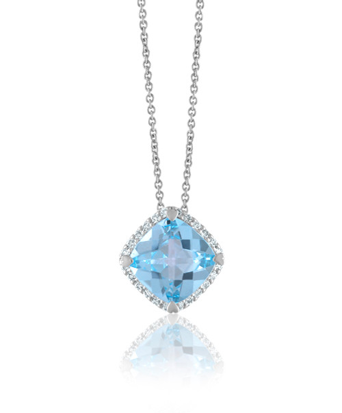 Blue Topaz Cushion Halo Pendant