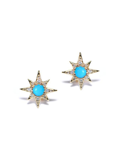 Turquoise and Diamond Star Studs