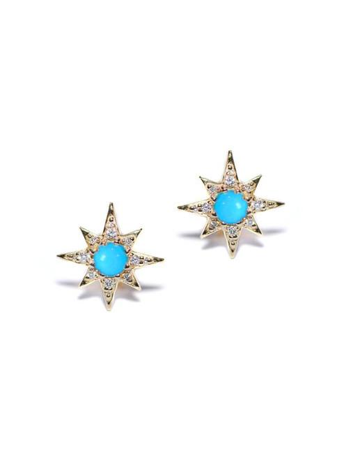 Turquoise and Diamond Star Studs
