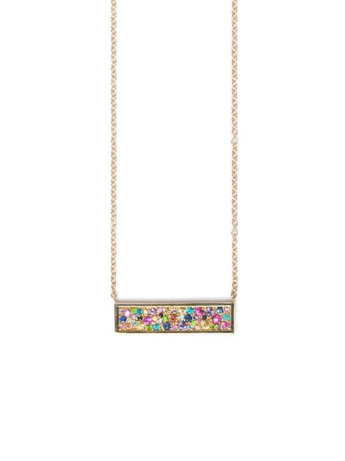 Multi Sapphire Plate Necklace