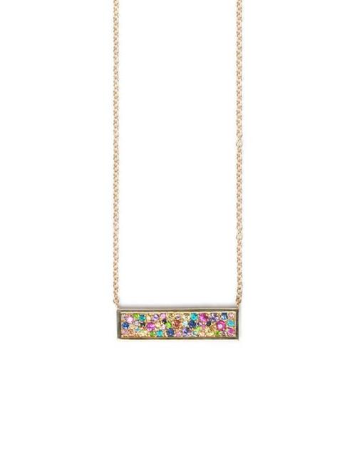 Multi Sapphire Plate Necklace