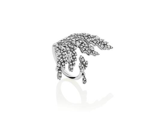 Diamond Leaf Cocktail Ring