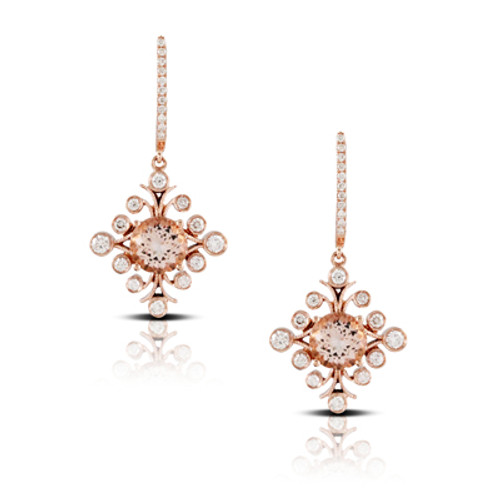Morganite Drop Earrings in Rose Gold