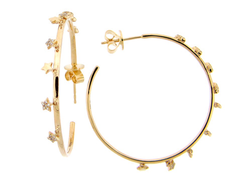 Large Yellow Gold Hoops with Star Dangles