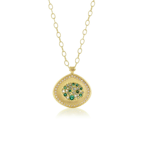 Emerald and Diamond Gold Pendant