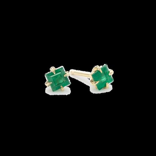 Square Emerald Studs