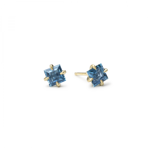 Square Blue Sapphire Studs
