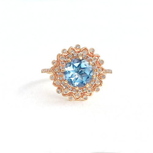 Double Halo Sky Blue Topaz Ring Rose Gold