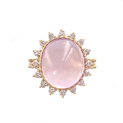 Cabochon Rose Quartz Ring