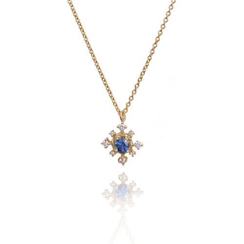 Blue Sapphire Snowflake Pendant