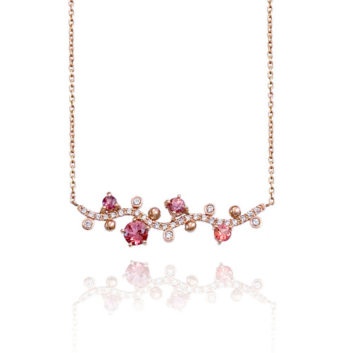 Pink Spinel, Sapphire & Diamond Necklace