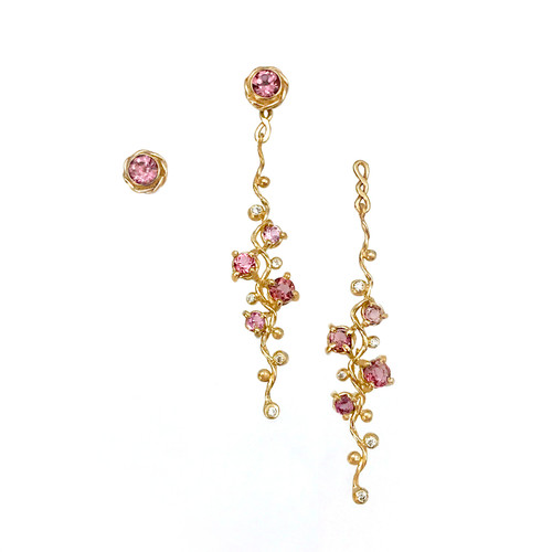 Pink Spinel and Diamond Vine Earrings