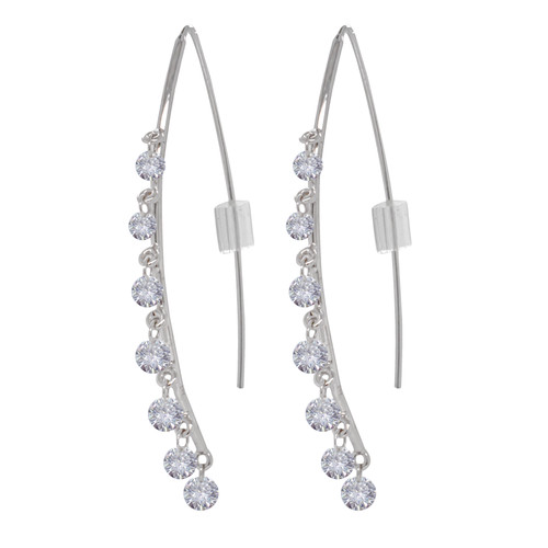 Wire Diamond Dangle Earrings