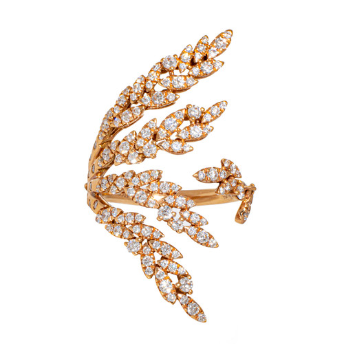 Feather Diamond Cocktail Ring in Rose Gold