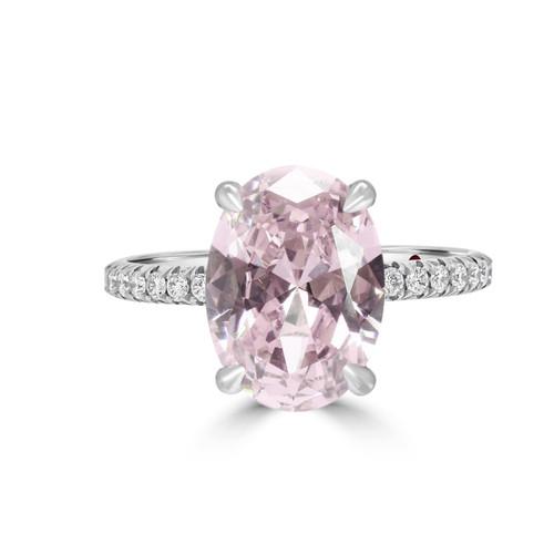 Oval Blush Pink Sapphire Diamond Ring