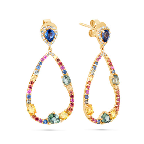 Rainbow Sapphire Drop Earrings