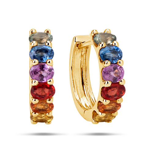 Rainbow Sapphire Huggy Earrings