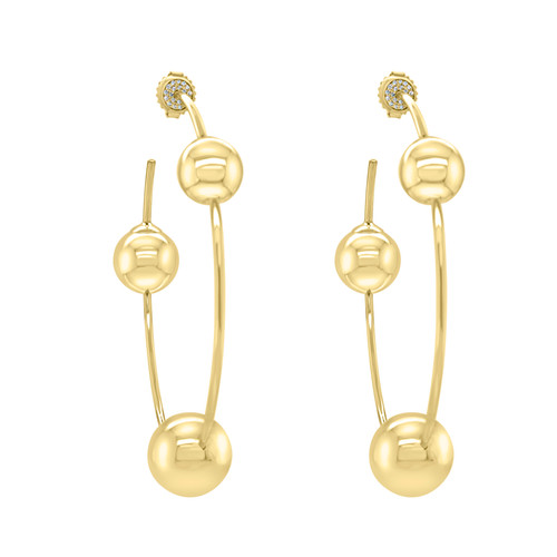 Large Gold Hoop Ball Earrings