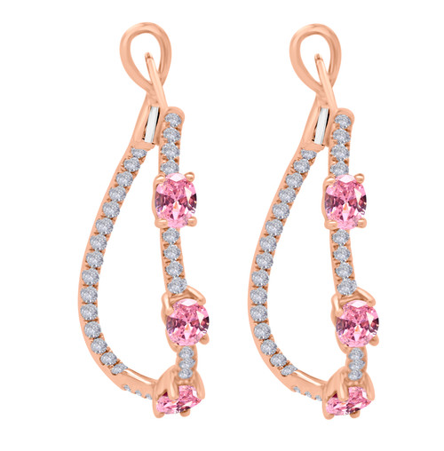 Pink Sapphire Twist Hoop Earrings