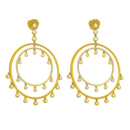 Diamond Dangle Double Hoop Earrings