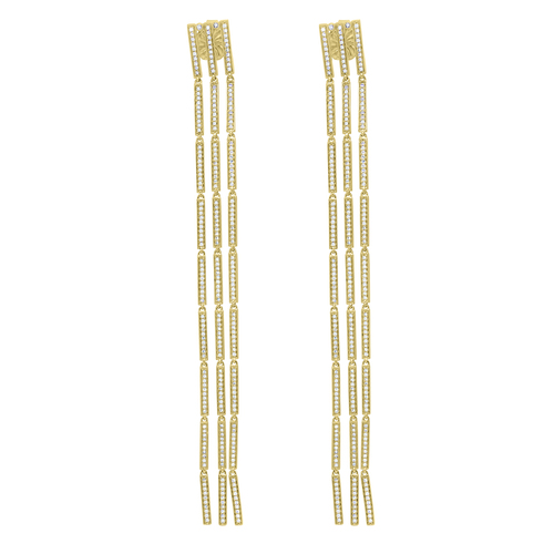 Gold Three Strand Long Earrings