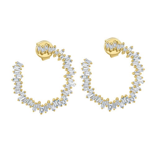 Diamond Baguette Open Circle Earrings