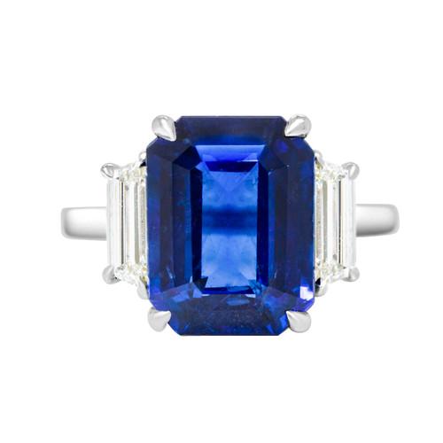Emerald Cut Sapphire Three Stone Ring