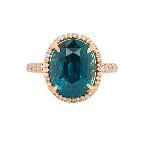 Teal Sapphire Oval in Rose Gold