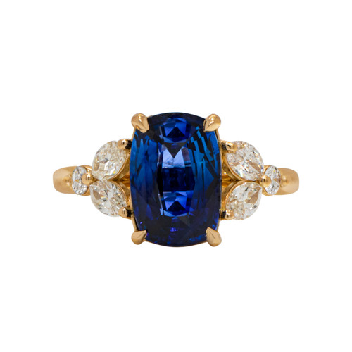 Blue Sapphire Ring with Marquise Diamonds