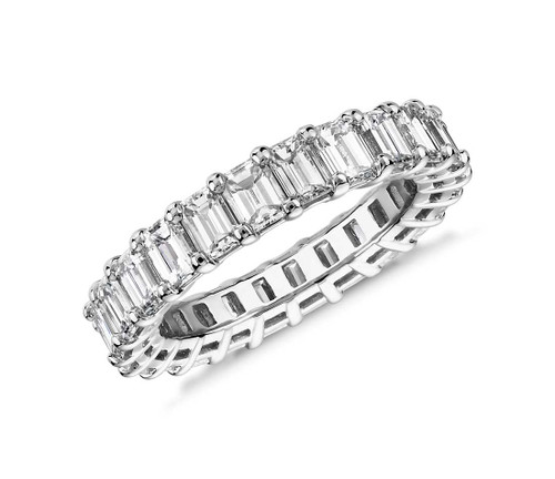Diamond Emerald Cut Prong Eternity Ring