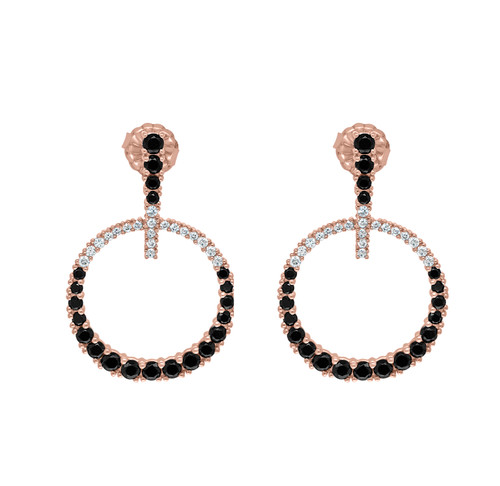 Black Spinel and White Diamond Earrings in Rose Gold