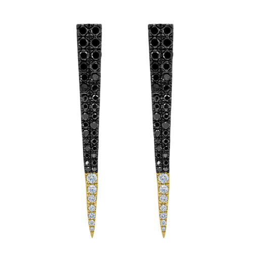 Black Spinel and Diamond Earrings