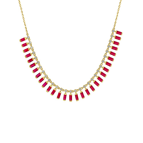 Ruby Baguette Necklace