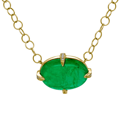 Cabochon Emerald Yellow Gold Necklace
