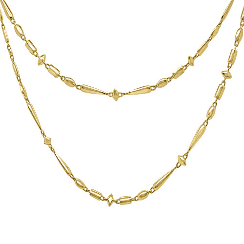 18K Yellow gold Long Chain Necklace