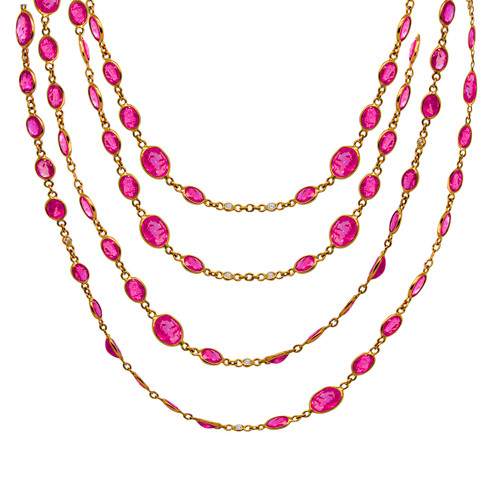 Ruby Yellow Gold Necklace