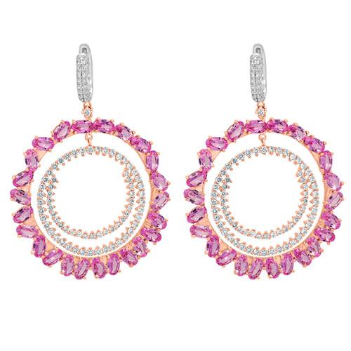 Pink Sapphire and Diamond Hoop Earrings