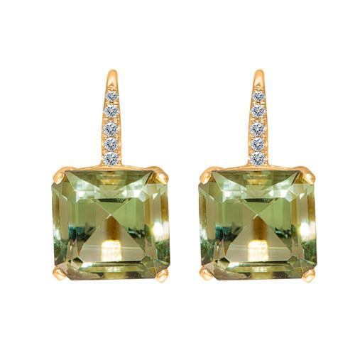 Square Green Quartz Drop Earrings