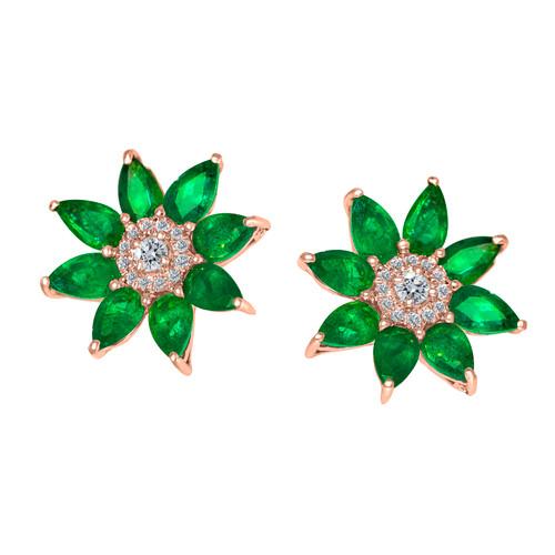 Flower Emerald Stud Earrings