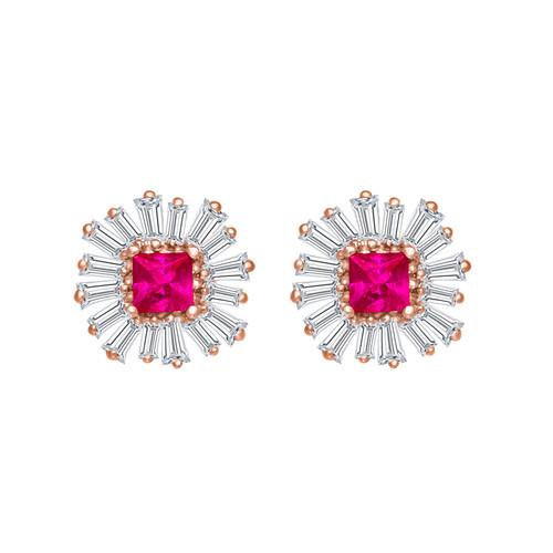 Ruby and Diamond Baguette Earrings