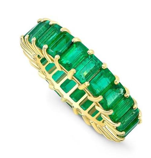 Tsavorite Yellow Gold Eternity Ring