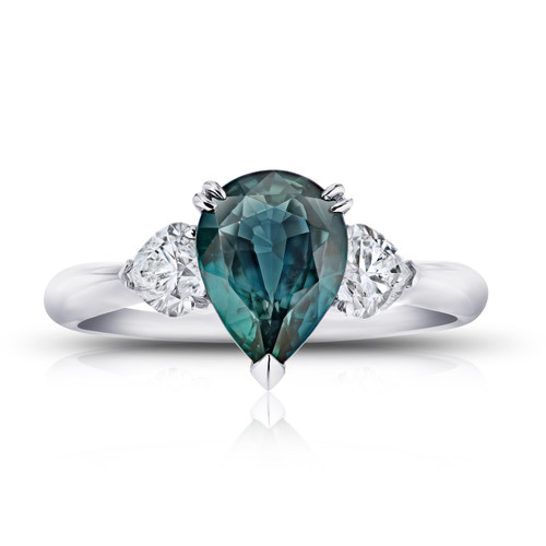 Pear Teal Sapphire Three Stone Ring