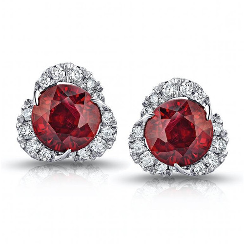 Ruby Scalloped Halo Studs