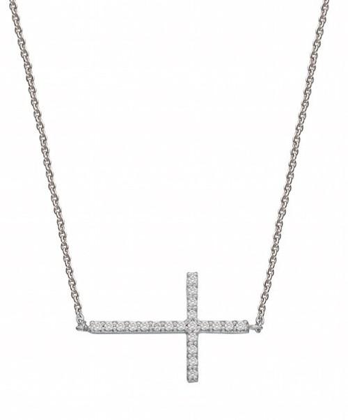 Sideways Diamond Cross Pendant