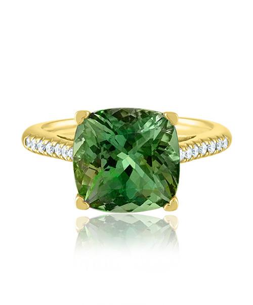 Green Tourmaline Cushion Ring