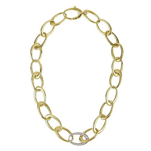 Oval Gold Link Necklace with Single Diamond Link